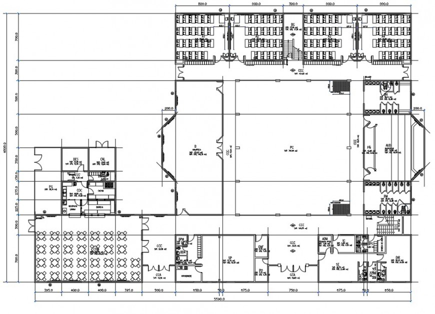 Secondary school distribution plan with furniture drawing details dwg file