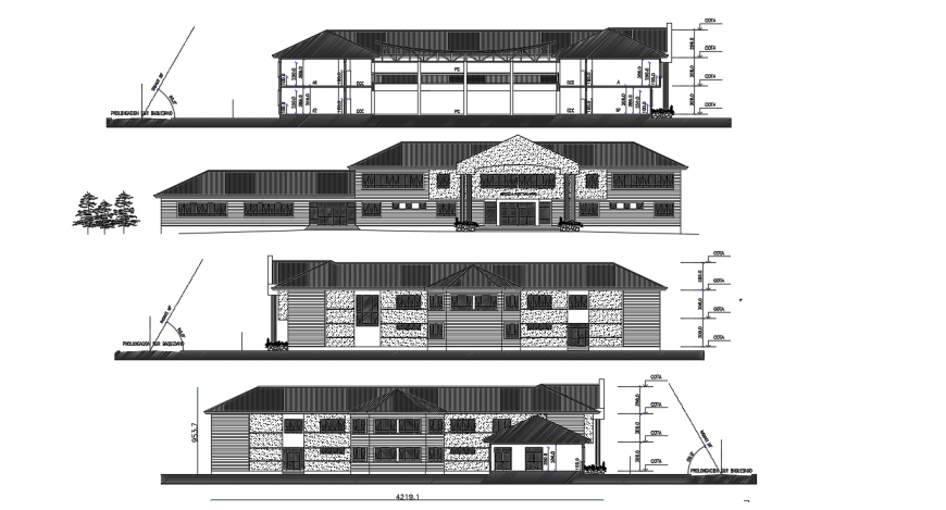 Secondary school elevation and section cad drawing details dwg file