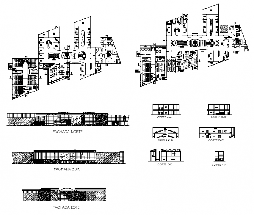 Section, elevation and plan of an office building layout autocad file