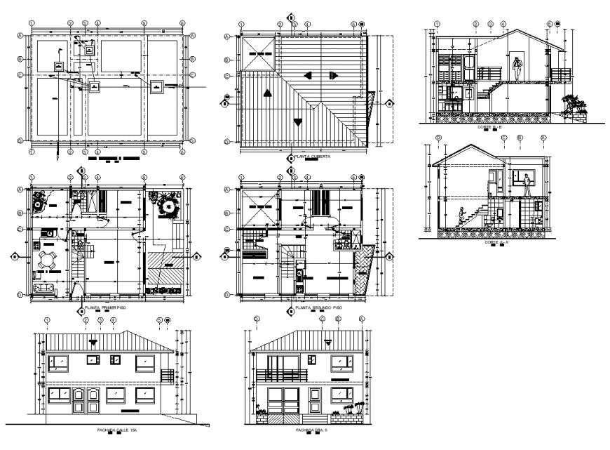 Section, elevation and plan of housing structure detail 2d view layout autocad file