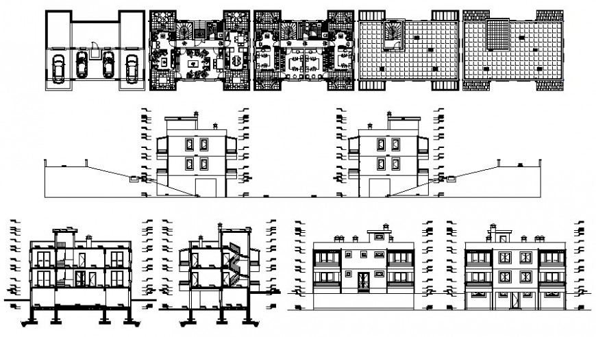 Section, elevation and plan of residential apartment detail 2d view dwg file