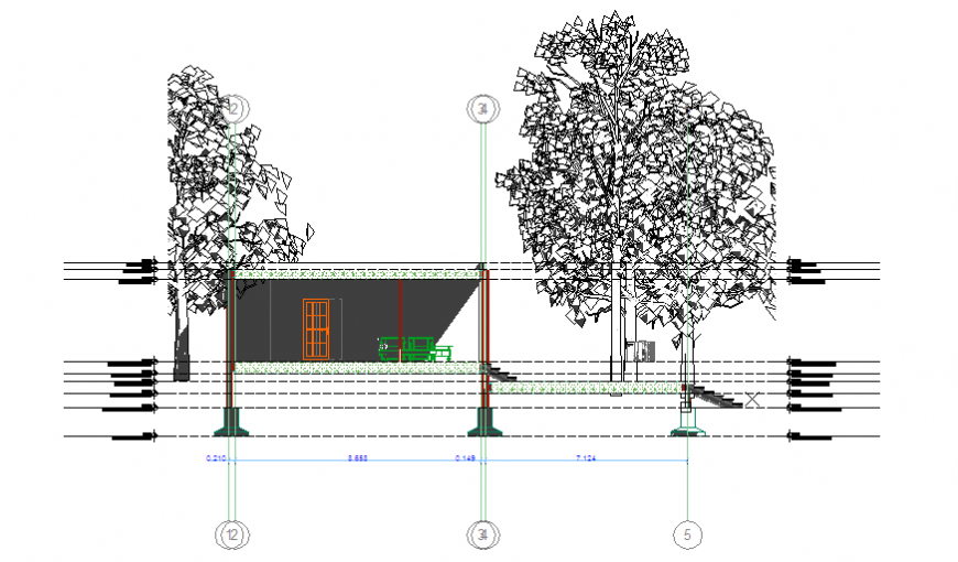 Section- B view design drawing of steel structure frame house design drawing