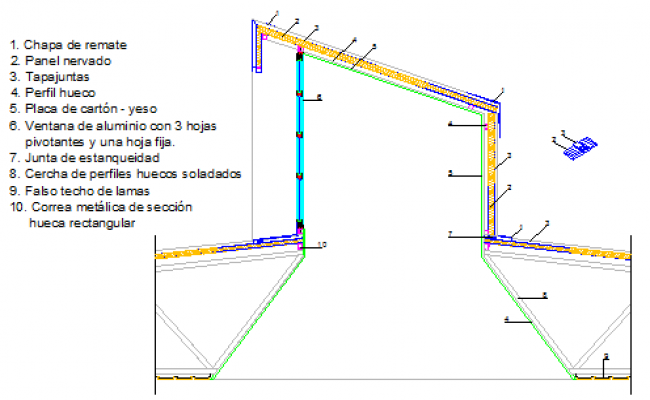 section design drawing of Fabrication drawing