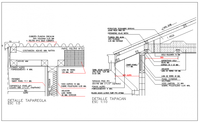 section view of roof of house dwg file