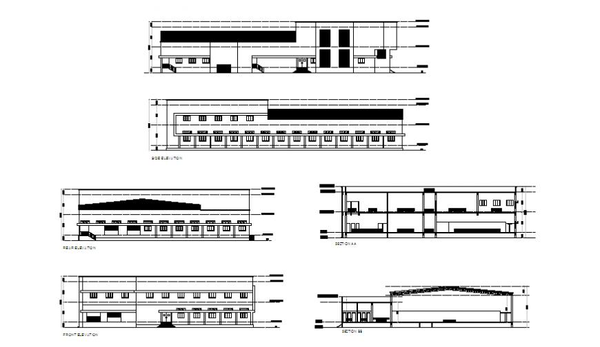 Section & elevation design of modern chiken slaughter house design drawing