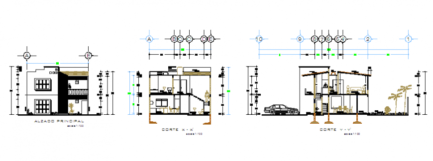 Section & Elevation of  Small house 2 floors project design drawing
