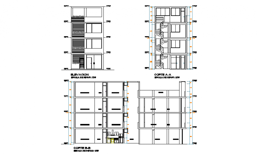 Section & Elevation of unifamiliary housing 3 floors design drawing