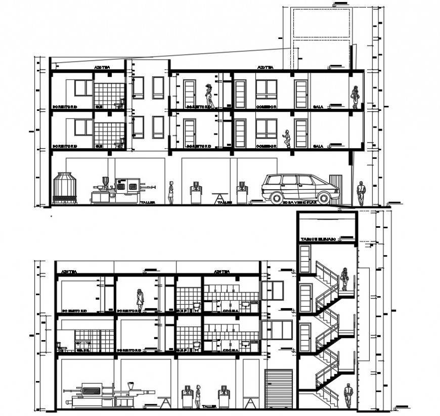 Section 2d drawings details of apartment dwg autocad file