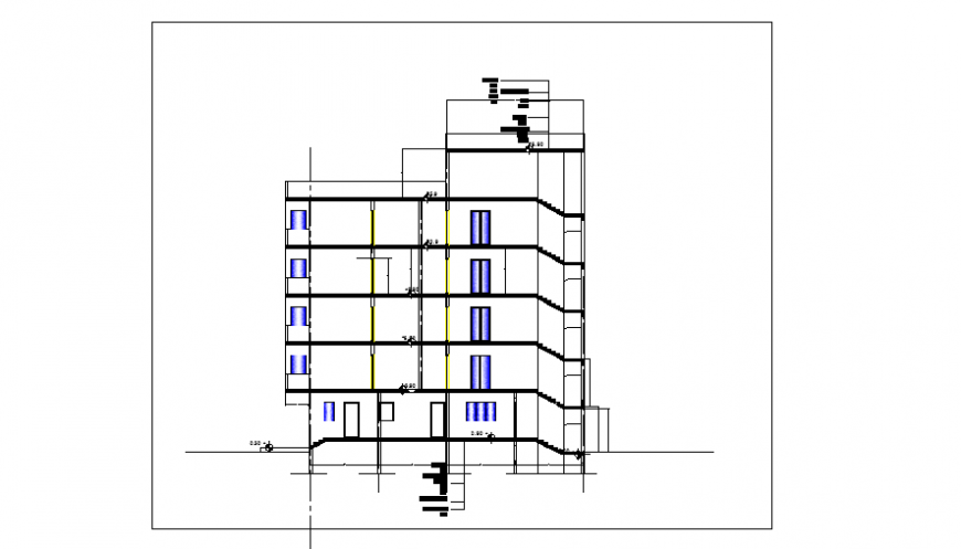 Section  plan design of Apartment house design drawing