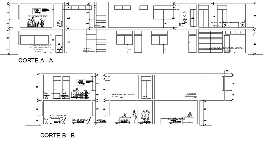 Section a-a', section b-b' drawing of house in dwg file.