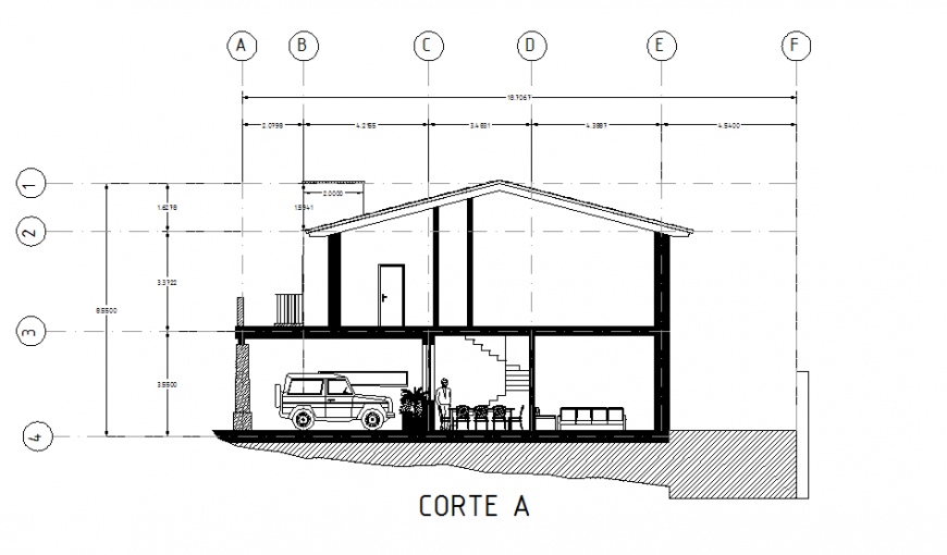 Section A-A' house plan