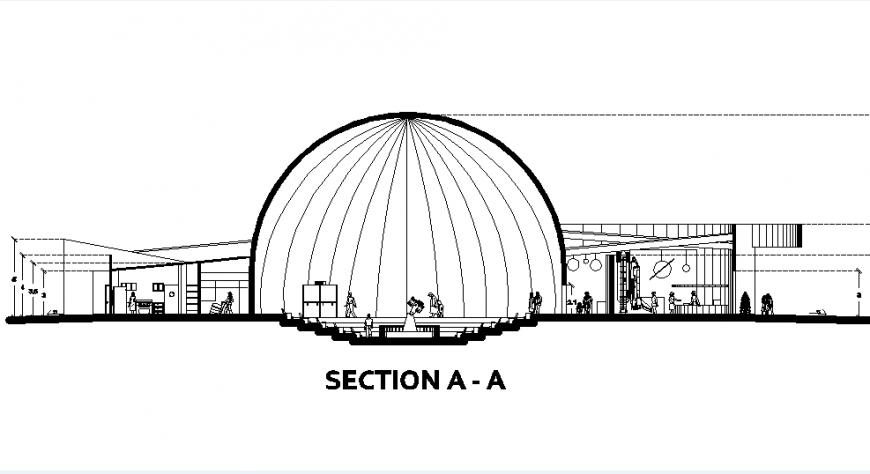 Section A-A' Planetarium plan autocad file