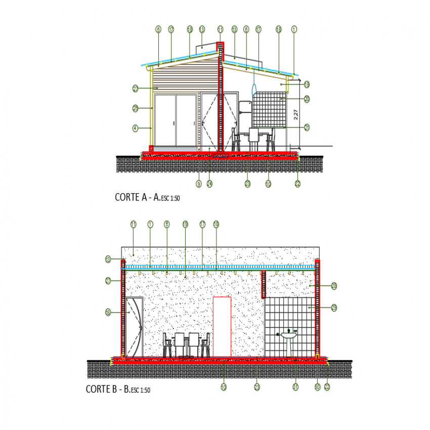 Section A-A and section B-B plan details of wooden house dwg file