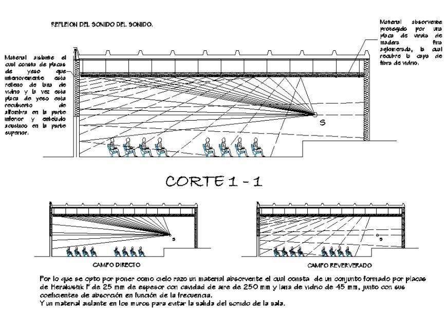 Section acoustic plan autocad file