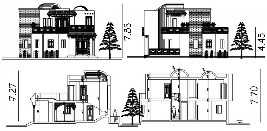 Section and elevation drawing of apartment dwg autocad file