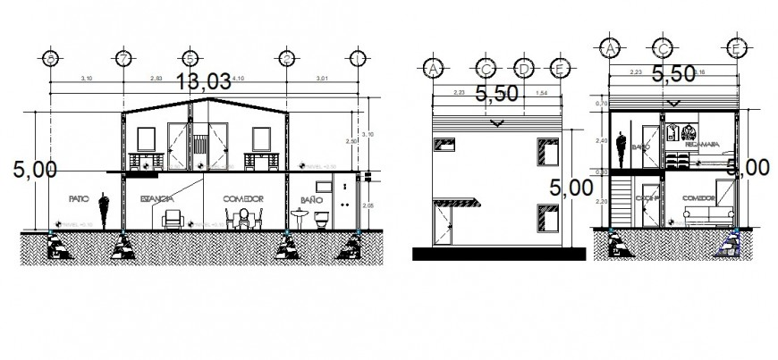 Section and elevation drawings of housing apartment 2d view dwg file