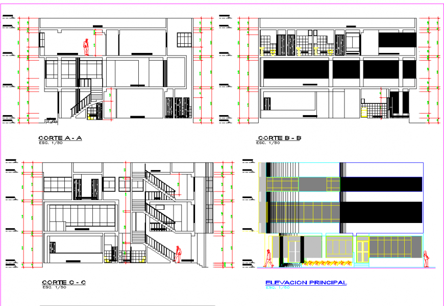 Section and elevation housing planning layout file