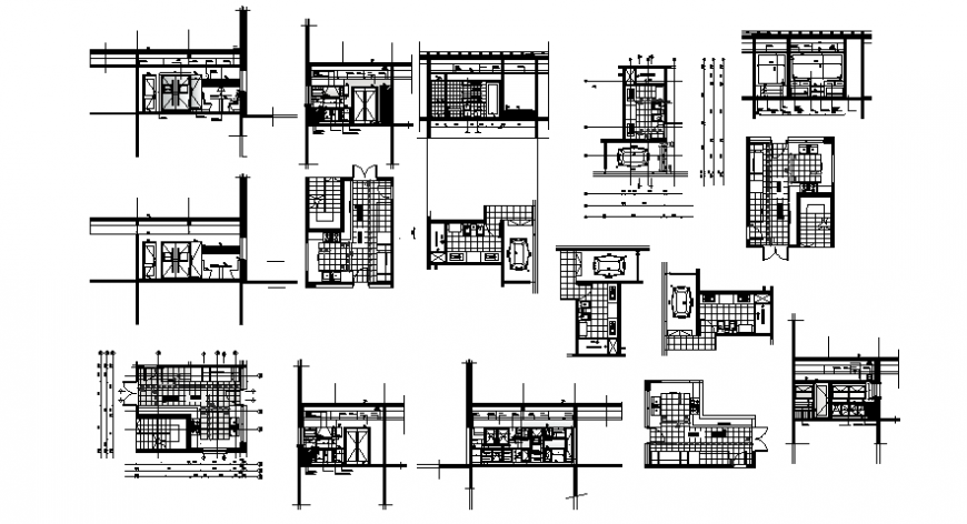 Section and elevation of housing units 2d view autocad file
