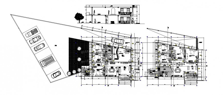 Section and floor plan distribution details of residential bungalow dwg file