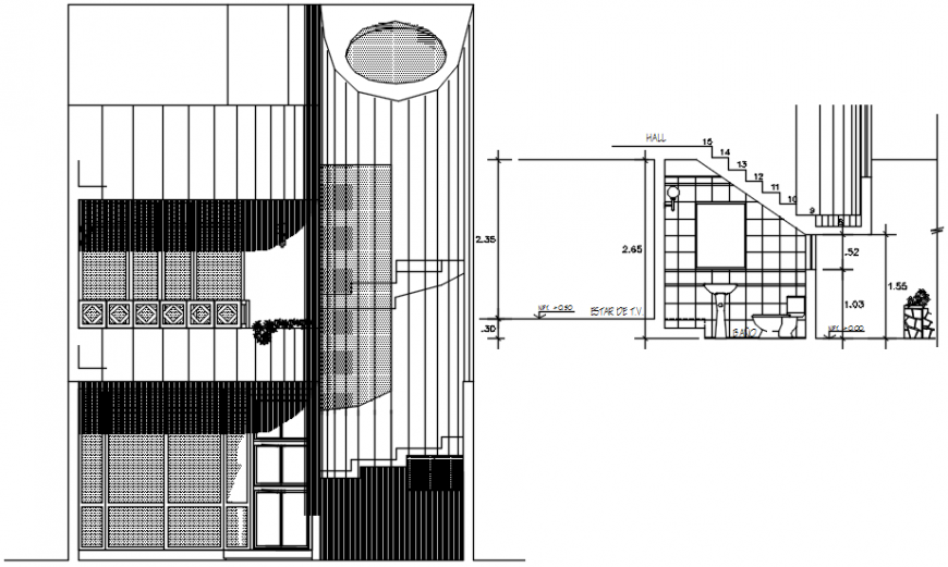 Section and front elevation of housing area in AutoCAD file