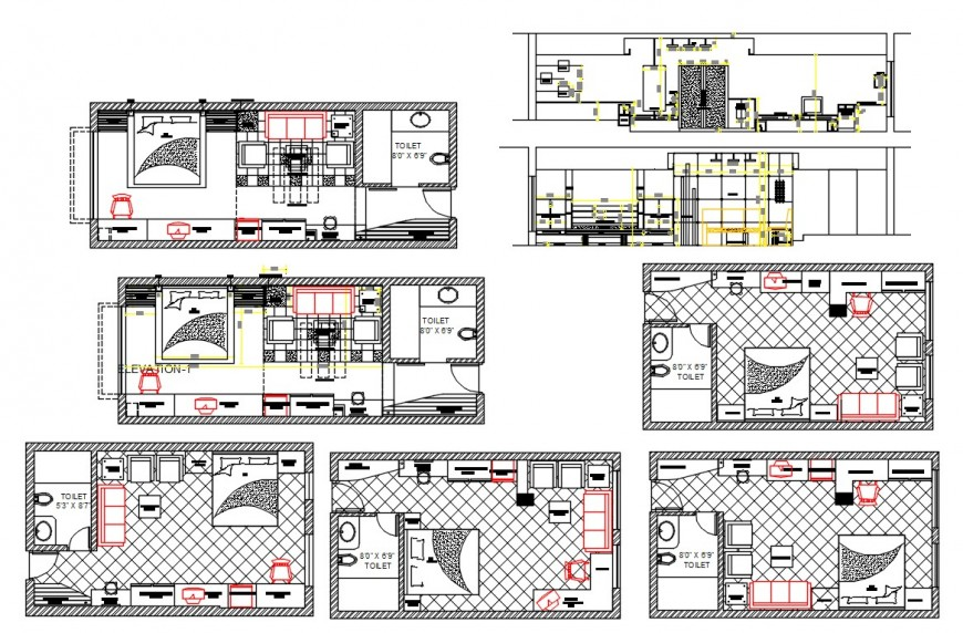Section and layout CAD plan of bedroom autocad software file