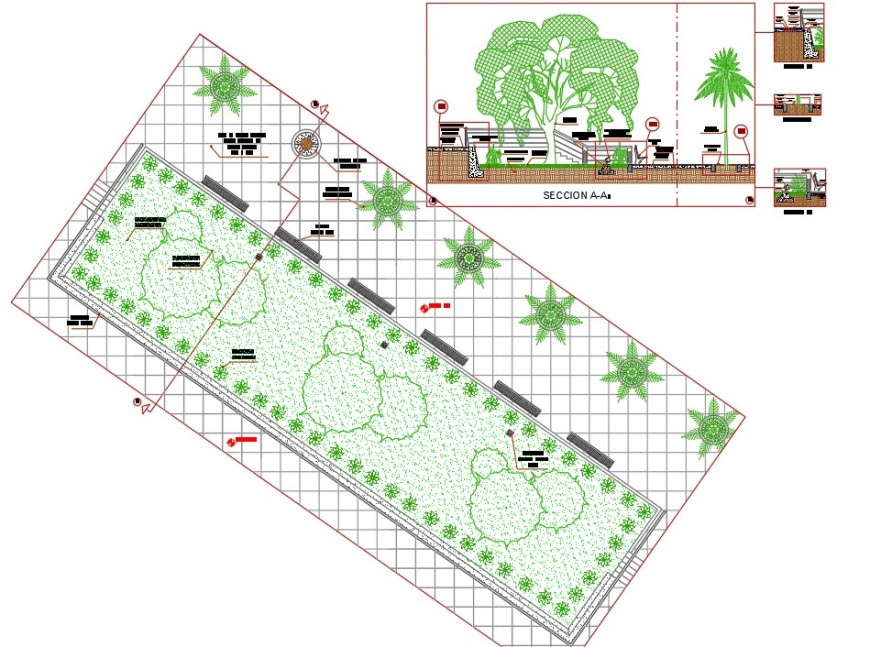 Section and plan detail of footpath 2d view CAD block layout file in autocad format
