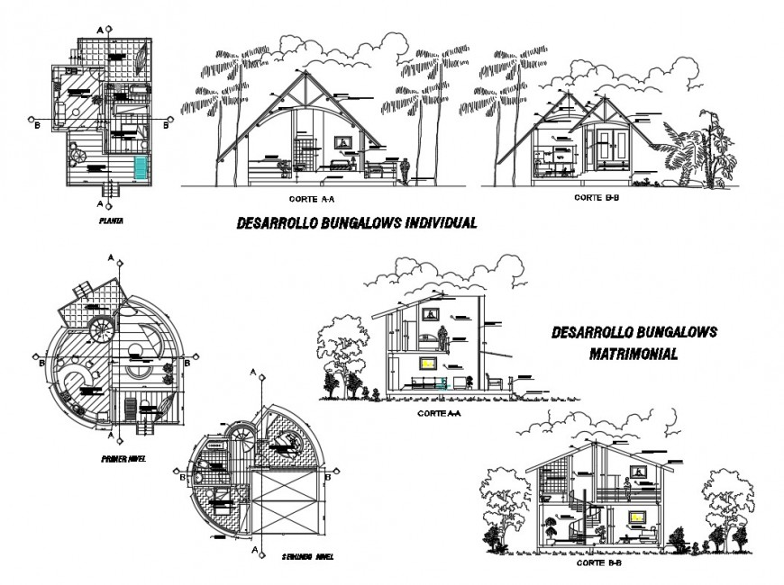 Section and plan detail of house 2d view layout file in autocad format