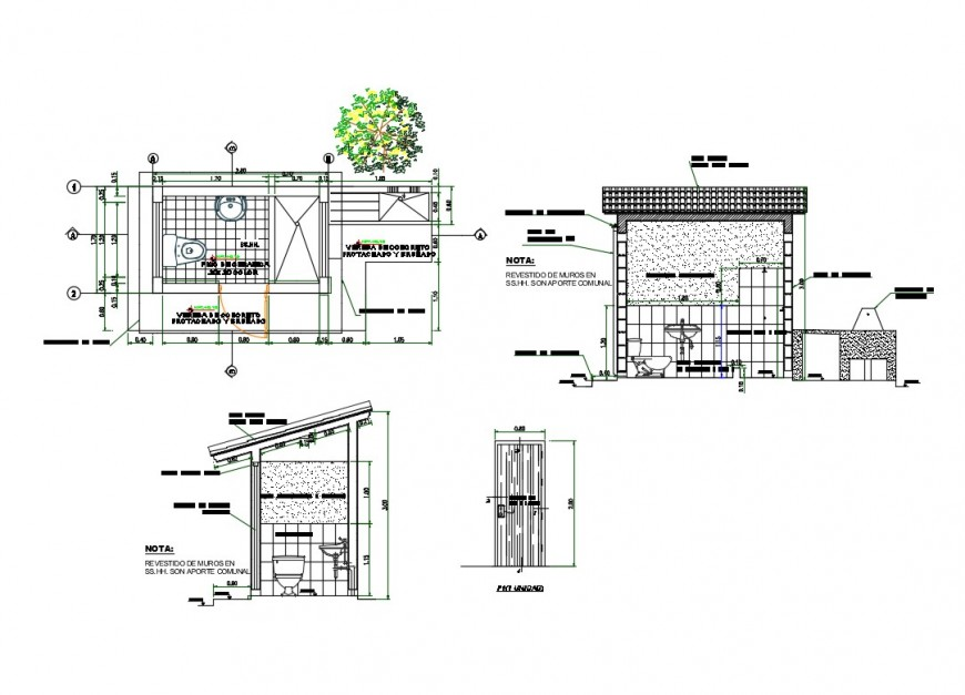 Section and plan detail of sanitary bathroom layout file in Autocad format