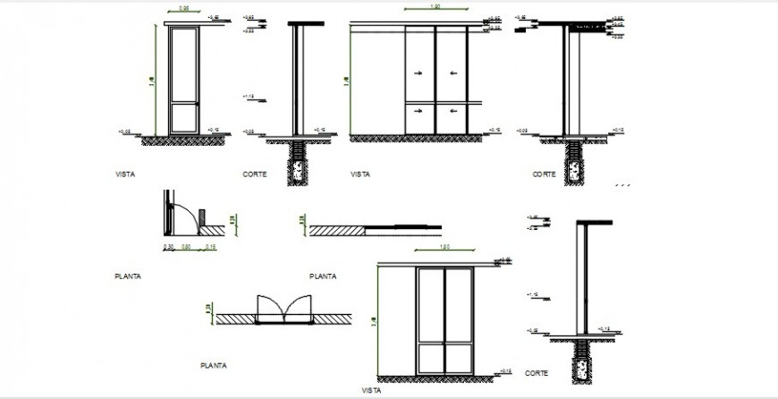 Section and plan drawings details of door units 2d view dwg file