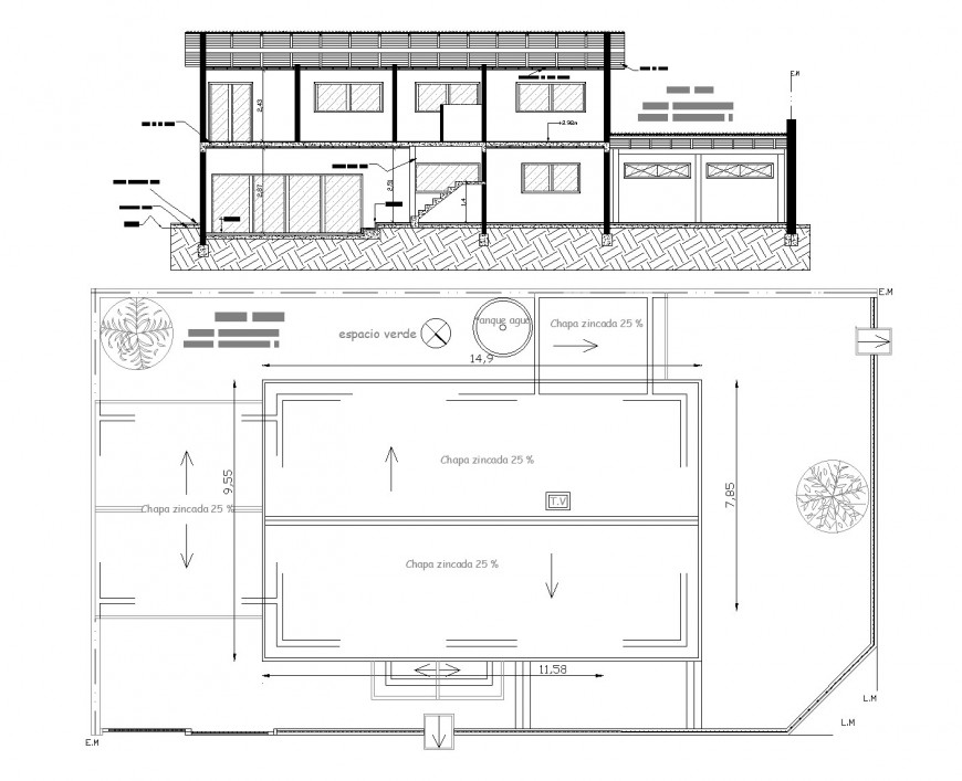 Section and plan house autocad file