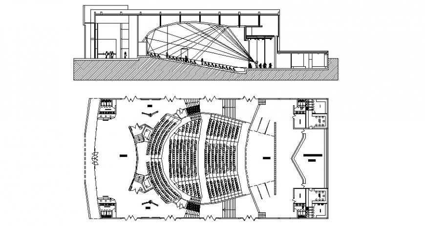 Section and plan of multiplex theater building 2d view autocad file