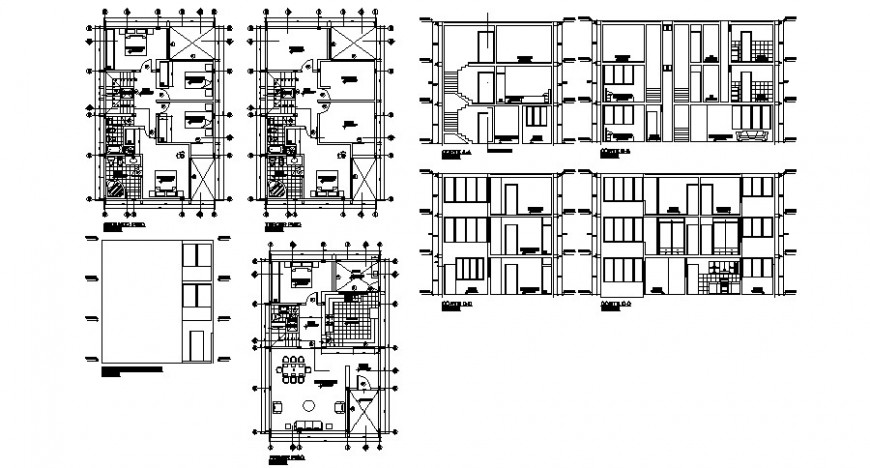Section and working plan of residential apartment drawing in dwg format