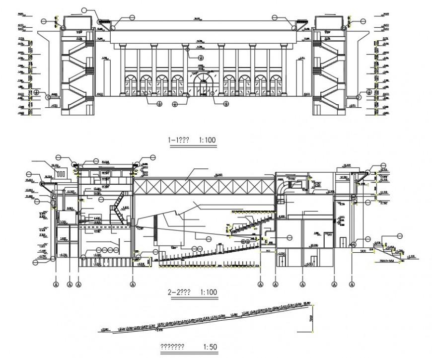 Section auditorium plan detail autocad file