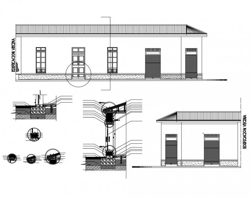 Section constructive details in mud house one family dwg file