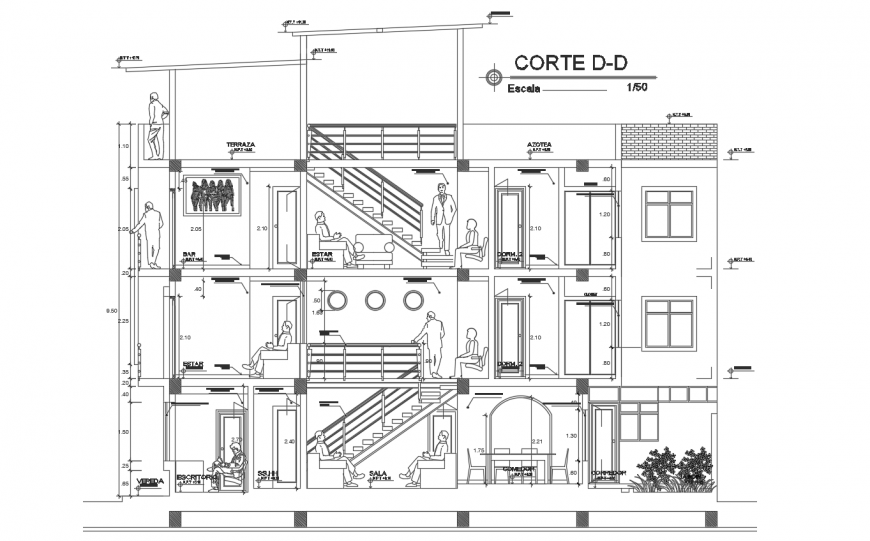 Section D-D' house plan detail dwg file