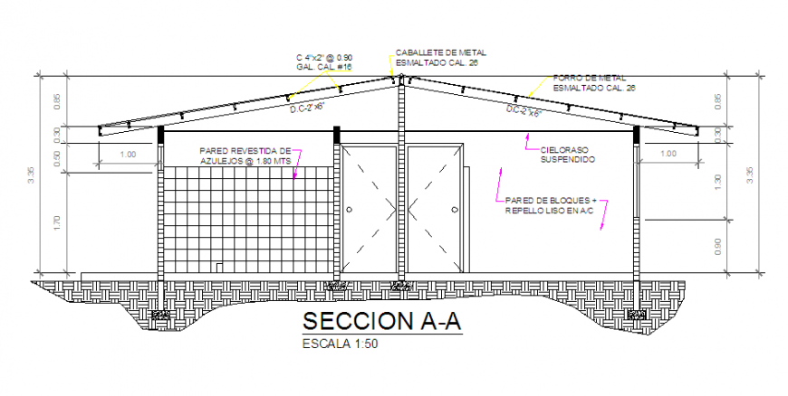 Section design drawing of Preliminary housing design drawing