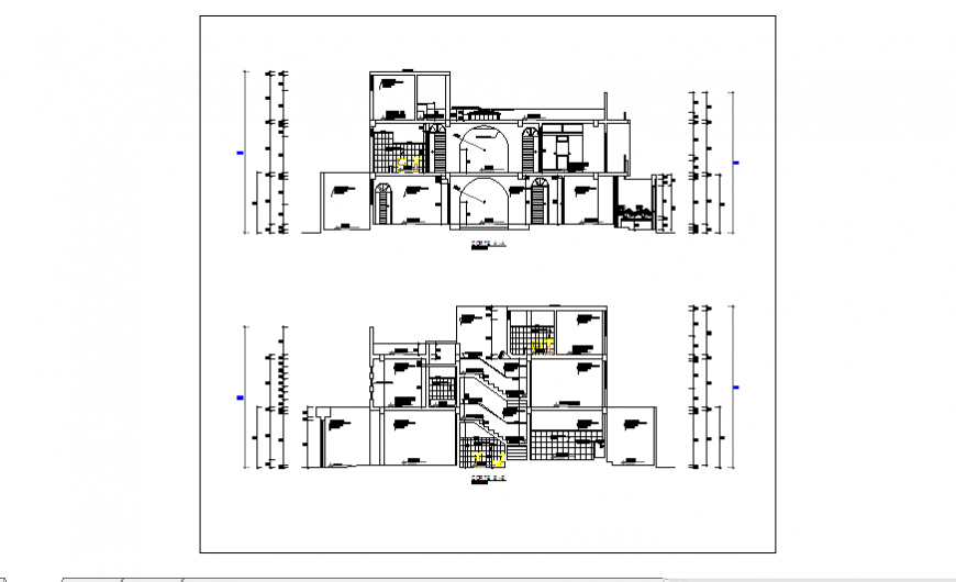 Section design drawing of Single family home design drawing