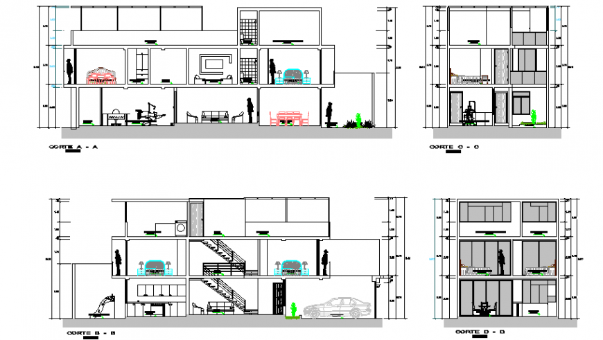 Section design drawing of single family house design drawing