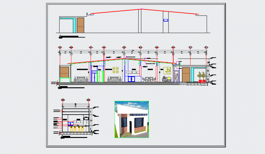 Section design drawing of unique type plot area residence design drawing