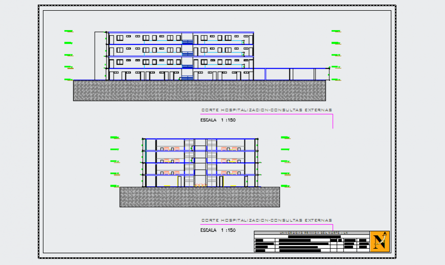 Section design drawing plan of Hospital design drawing