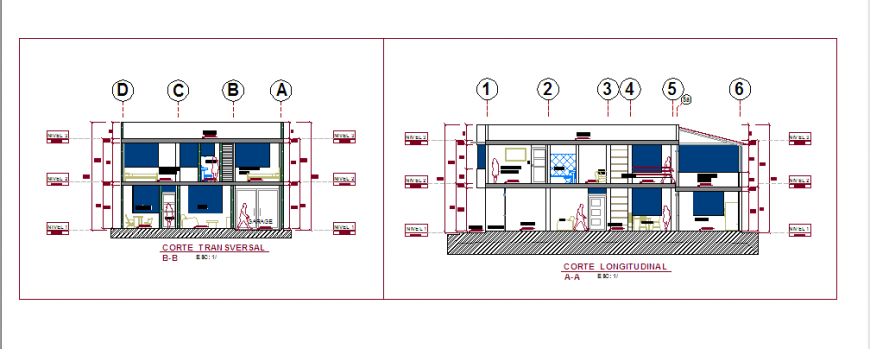Section design of home renovation design drawing