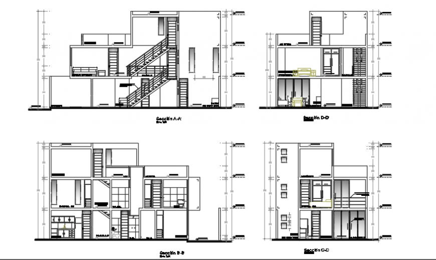 Section design of Single family housing project planing design drawing