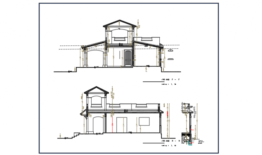 Section design of small villa design drawing