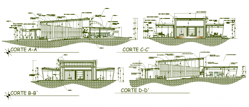 Section detail drawing of commercial plaza in dwg file.