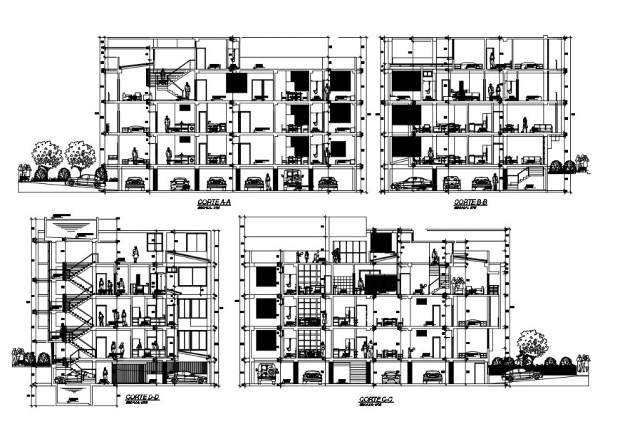Section detail of an apartment 2d view CAD construction block AutoCAD file
