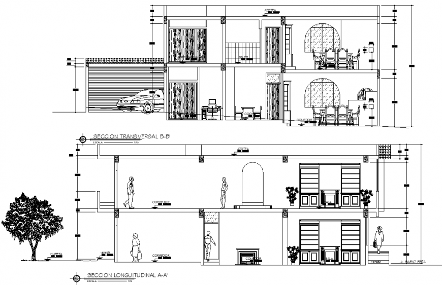Section detail of bungalow drawing in dwg AutoCAD file.