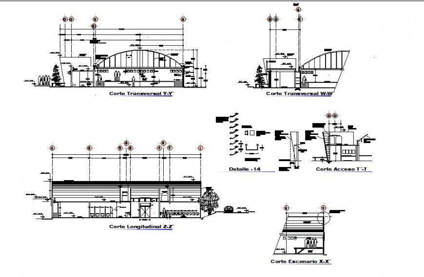 Section detail of multi-plex theater building detail 2d view CAD structural block autocad file