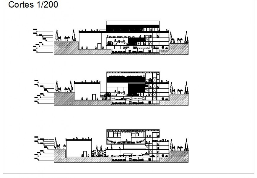 Section detail of multi-story theater building block detail 2d view CAD block autocad file
