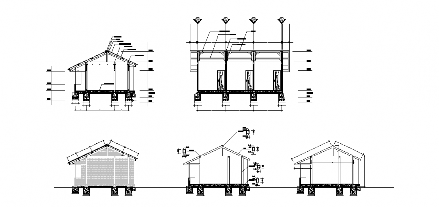Section detail plan design of small school house design drawing