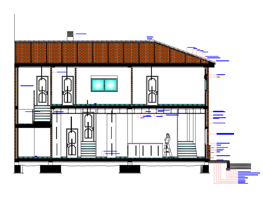 Section details of one family housing with specifications dwg file